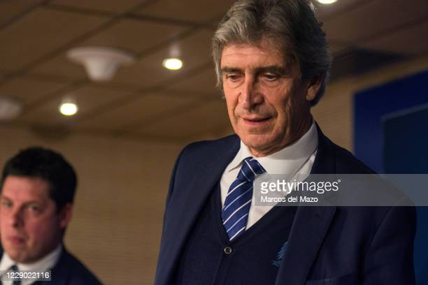 Manchester City coach Manuel Pellegrini during a press conference in Santiago Bernabeu Stadium a day before UEFA Champions League match against Real...