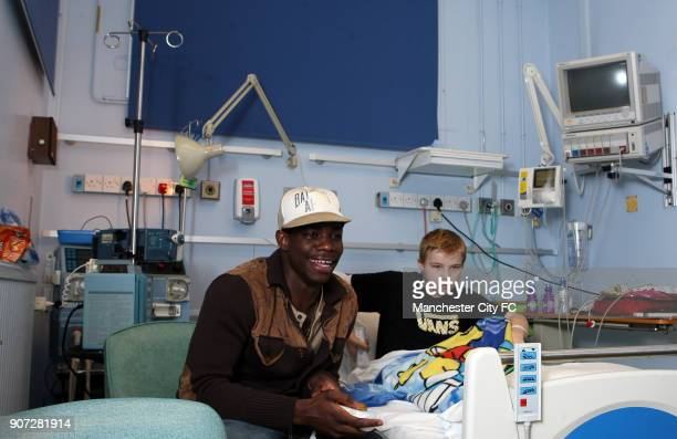 Manchester City Community Day Manchester Royal Children's Hospital Manchester City's Micah Richards visits Thomas MaxwellHarrison and plays a video...