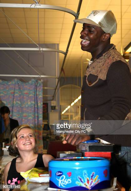 Manchester City Community Day Manchester Royal Children's Hospital Manchester City's Micah Richards chats to Jade Davidson on the Wrigley Ward at...