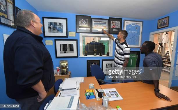 Manchester City Community Visit Bacary Sagna and Aleksandar Kolarov with fan Dave Roy