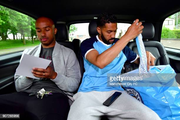Manchester City Community Visit Manchester City players Fabian Delph and Gael Clichy check gifts and sign autographs ahead of a visit to 6weekold Zak...