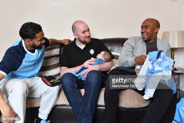 Manchester City Community Visit Manchester City players Gael Clichy and Fabian Delph visit 6weekold Zak Woolfenden and father Matthew in the Abbey...