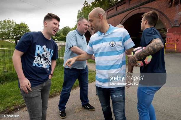 Manchester City Community Visit Pablo Zabaleta and Aleix Garcia have a kick about with fans in the park