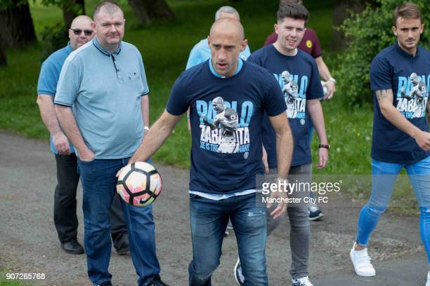 Manchester City Community Visit Pablo Zabaleta with Aleix Garcia have a kick about with fans in the park