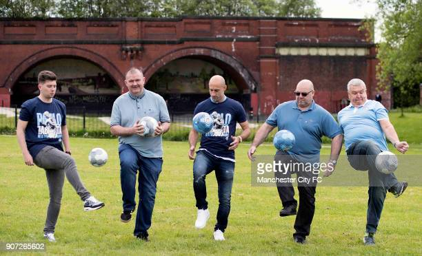 Manchester City Community Visit Pablo Zabaleta with fans have a kick about with fans in the park