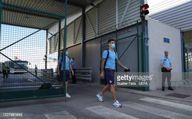 Manchester City defender Joao Cancelo and Manchester City midfielder Bernardo Silva arrive with Manchester City team in Lisbon for the Champions...