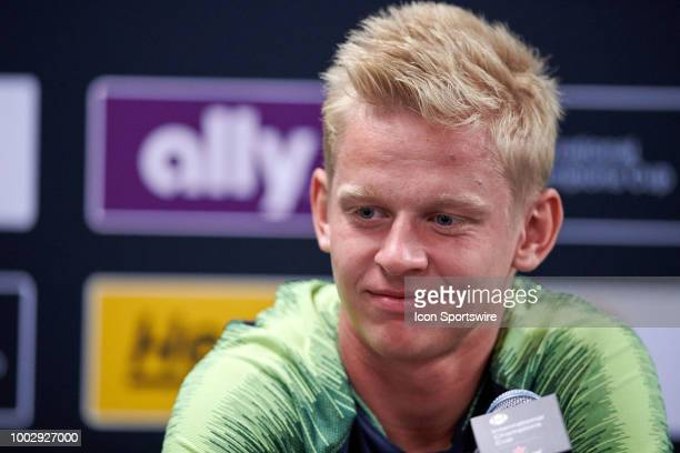 Manchester City defender Oleksandr Zinchenko answers questions from the media during Manchester Citys press conference ahead of the International...