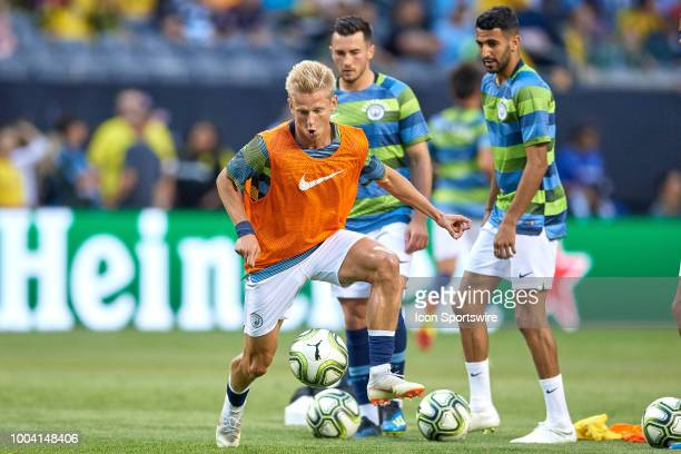 Manchester City defender Oleksandr Zinchenko warms up during an International Champions Cup match between Manchester City and Borussia Dortmund on...