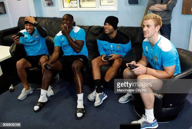 Manchester City EA Fifa Street competition Carrington Manchester City's Nigel De Jong Micah Richards Joleon Lescott and Joe Hart have a game of FIFA...