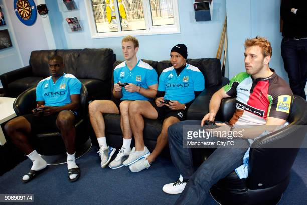 Manchester City EA Fifa Street competition Carrington Manchester City's Micah Richards Joe Hart Nigel De Jong and Rugby Player Chris Robshaw have a...