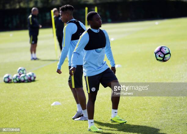 Manchester City EDS Training City Football Academy Manchester City's Aaron Nemane and Demeaco Duhaney in training