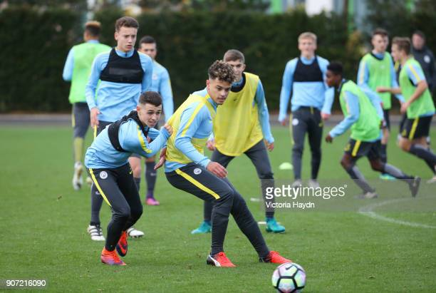 Manchester City EDS Training City Football Academy Manchester City's Phil Foden and Joel Latibeaudiere in training