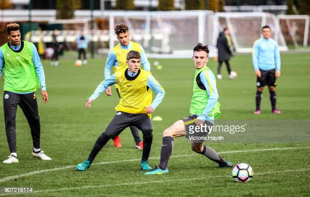 Manchester City EDS Training City Football Academy Manchester City's Iker Pozo and Edward Francis in training
