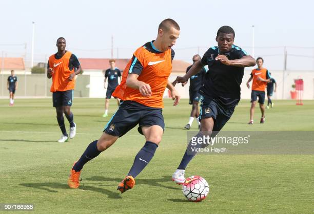 Manchester City EDS Training Day Three Spain Manchester City's Javairo Dilrosun and in training A19U2618jpg