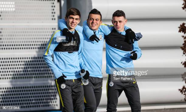 Manchester City EDS Training Session City Academy Manchester City's Iker Pozzo Lorenzo Gonzalez and Phil Foden