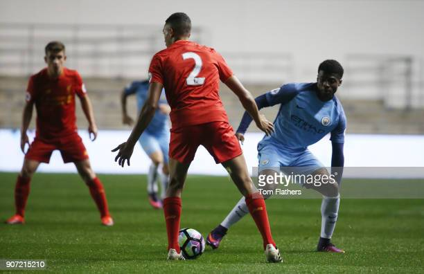 Manchester City EDS v Liverpool Premier League 2 Academy Stadium Manchester City's Javairo Dilrosun and Liverpool's Trent AlexanderArnold in action