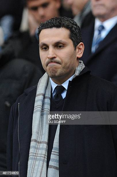 Manchester City Emirati chairman Khaldoon alMubarak takes his place in the stands for the English Premier League football match between Manchester...