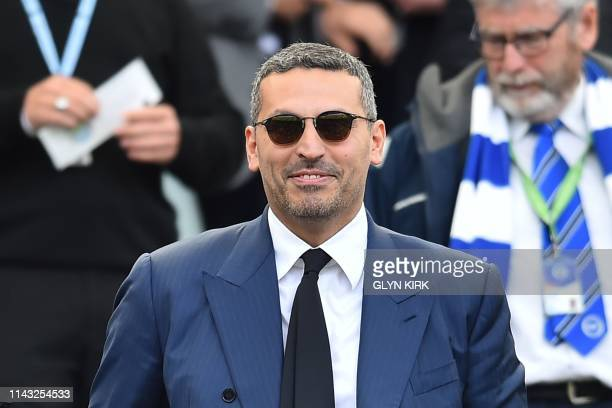 Manchester City Emirati chairman Khaldoon al-Mubarak watches the English Premier League football match between Brighton and Hove Albion and...