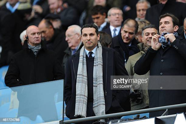 Manchester City Emirati chairman Khaldoon alMubarak watches the English Premier League football match between Manchester City and Arsenal at the...
