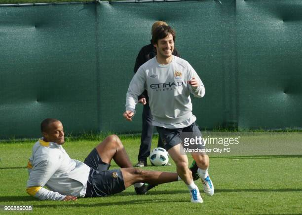 Manchester City FA Cup Final Preview Manchester City's Vincent Kompany and David Silva