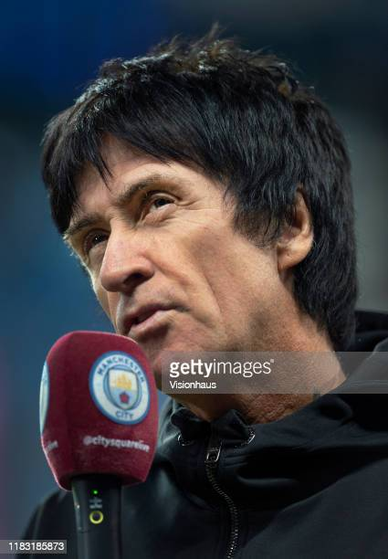 Manchester City fan and former member of The Smiths Johnny Marr is interviewed by Man City TV before the UEFA Champions League group C match between...