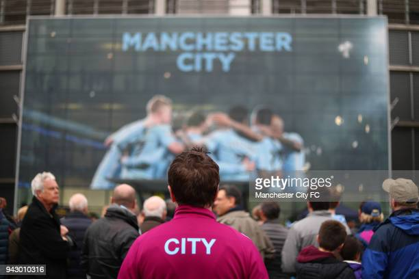 Manchester City fan outside the stadium prior to the Premier League match between Manchester City and Manchester United at Etihad Stadium on April 7...