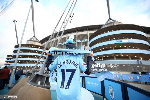 Manchester City fan seen outside the stadium prior to the Premier League match between Manchester City and Crystal Palace at Etihad Stadium on...