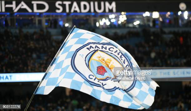 Manchester City fans and flags before the Carabao Cup SemiFinal First Leg between Manchester City and Brostol City at Etihad Stadium on January 9...