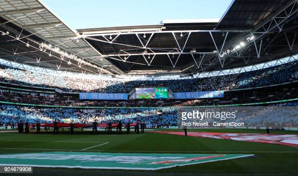 Manchester City fans during the Carabao Cup Final match between Arsenal and Manchester City at Wembley Stadium on February 25 2018 in London England