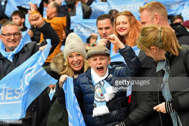 Manchester City fans during the FA Cup Semi Final between Brighton and Hove Albion and Manchester City at Wembley Stadium London on Saturday 6th...
