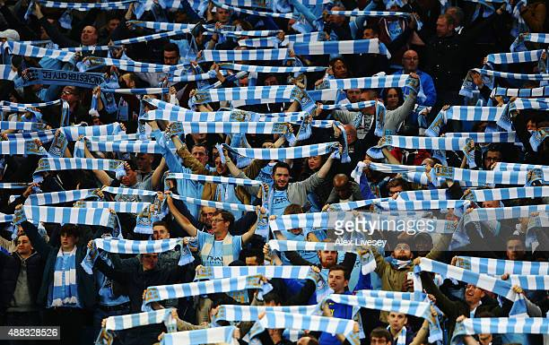 Manchester City fans show their support during the UEFA Champions League Group D match between Manchester City FC and Juventus at the Etihad Stadium...