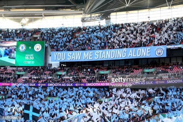 Manchester City fans show their support prior to the Carabao Cup Final between Chelsea and Manchester City at Wembley Stadium on February 24 2019 in...