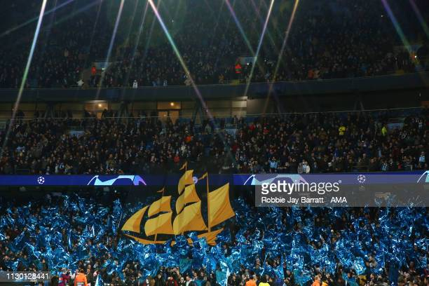 Manchester City fans show their support prior to the UEFA Champions League Round of 16 Second Leg match between Manchester City v FC Schalke 04 at...