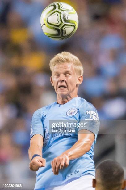 Manchester City FC defender Oleksandr Zinchenko heads the ball during an International Champions Cup match on July 20 at Soldier Field in Chicago IL