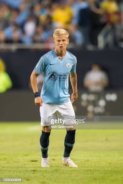Manchester City FC defender Oleksandr Zinchenko in action during an International Champions Cup match on July 20 at Soldier Field in Chicago IL