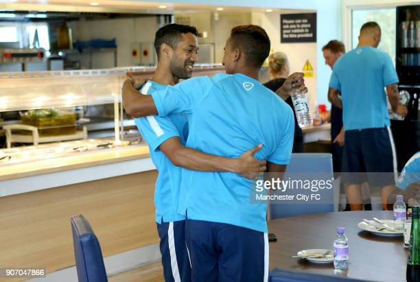 Manchester City FC Manchester City Players Report For Training Carrington Training Ground Manchester City players Gael Clichy and Scott Sinclair on...