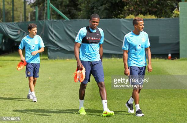 Manchester City FC Manchester City Players Report For Training Carrington Training Ground Manchester City's Dedryck Boyatat Scott Sinclair and Jesus...