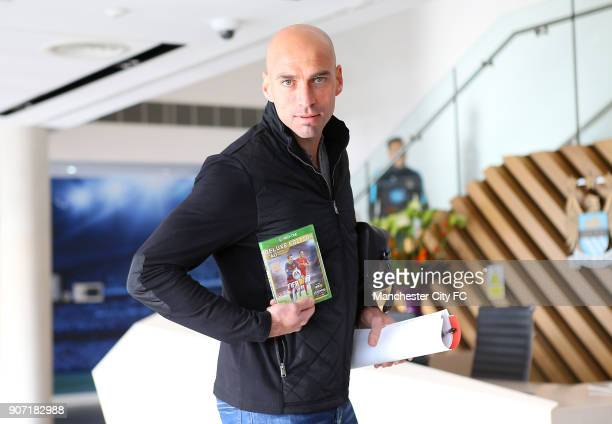 Manchester City FC Players receive copies of FIFA 2016 City Football Academy Manchester City goalkeeper Willy Caballero receives a copy of FIFA 2016