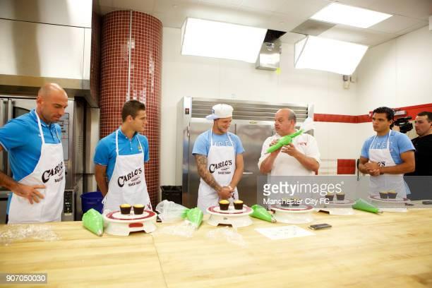Manchester City FC Players visit Carlo's Bakery New Jersey Manchester City's Willy Caballero Bruno Zuculini John Guidetti Carlo and Karim Rekik...