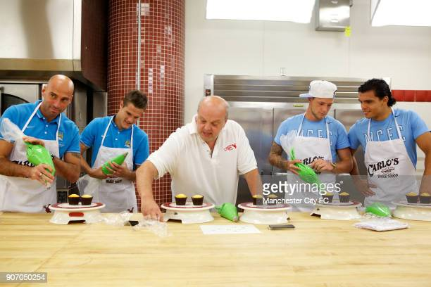Manchester City FC Players visit Carlo's Bakery New Jersey Manchester City's Willy Caballero Bruno Zuculini John Guidetti and Karim Rekik during a...
