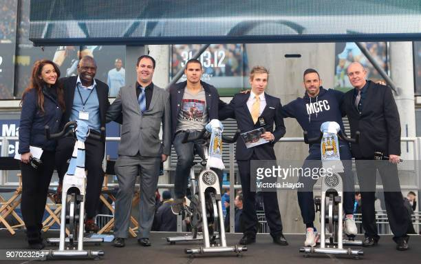 Manchester City FC Velocity Charity event launch BT City Square Natalie Pike Shaun Goater David Roberts Jack Rodwell Jonathan Fox Richard Wright and...