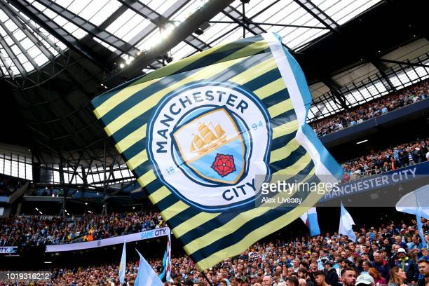 Manchester City flag is seen during the Premier League match between Manchester City and Huddersfield Town at Etihad Stadium on August 19 2018 in...