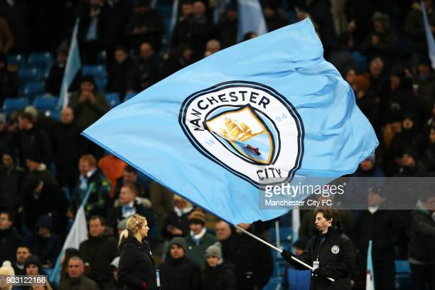 Manchester City flags and fans during the Carabao Cup SemiFinal First Leg between Manchester City and Brostol City at Etihad Stadium on January 9...
