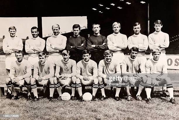 Manchester City Football Club at Maine Road Manchester circa 1967 Back row left to right Tony Book Stan Horne George Heslop Alan Ogley Harry Dowd...