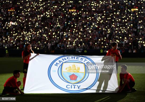 Manchester City football club flag is seen during ceremony at the start of International Champions Cup 2017 soccer match against Real Madrid at the...