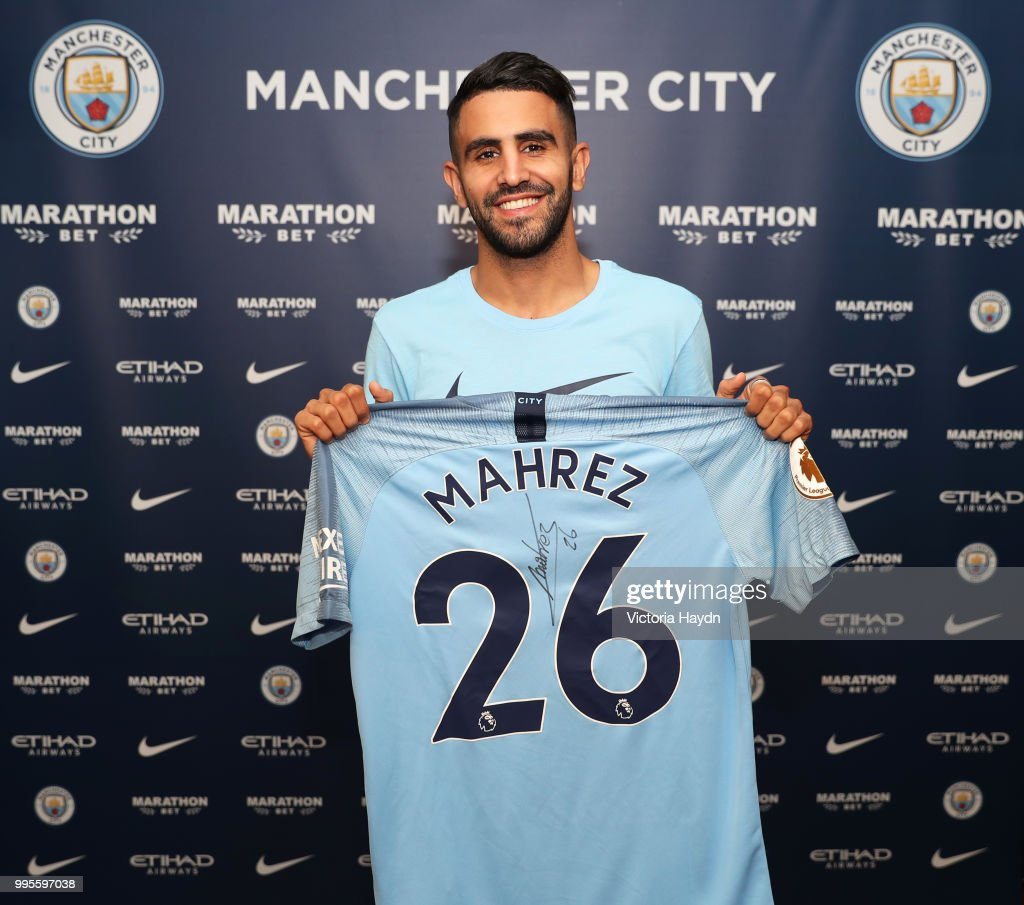 Manchester City Football Club Sign Riyad Mahrez at Manchester City Football Academy on July 10, 2018 in Manchester, England.