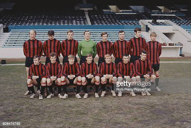 Manchester City Football Club squad players posed together near the end of the 19681969 football season at the club's Maine Road football stadium on...