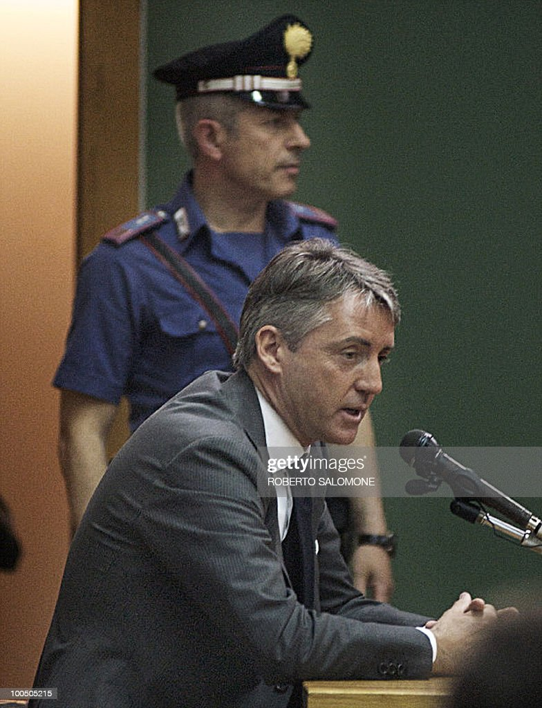 Manchester City Football Club's Italian manager Roberto Mancini (down) attends a hearing during the Calciopoli trial in the Palace of Justice of Naples on May 25, 2010. The inquest, led by FIGC prosecutor Stefano Palazzi, is related to the 2006 Calciopoli scandal that almost brought Italian football to its knees and resulted in several teams and individuals being punished for match-fixing.