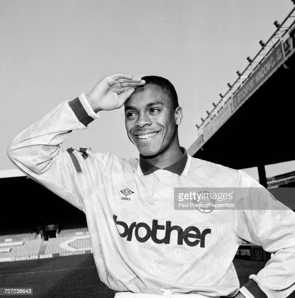 Manchester City footballer Fitzroy Simpson at Maine Road in Manchester circa 1993