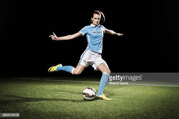 Manchester City footballer Jill Scott is photographed for the Guardian on July 22 2015 in Manchester England